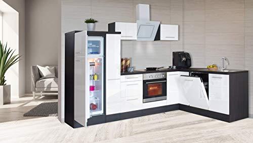 respekta Kuchnia kątowa kuchnia w kształcie litery L kuchnia dąb biały wysoki połysk 290 x 200 cm