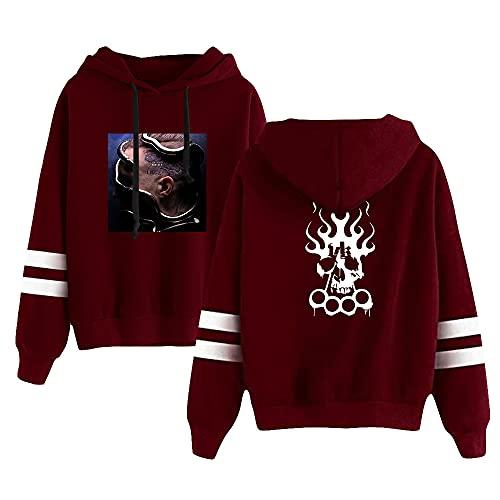 Kontra K Printing Hoodied Fashion Hoodie Pullover Sweatshirt Unisex Harajuku Trainingsanzug Gr. XL, RedA