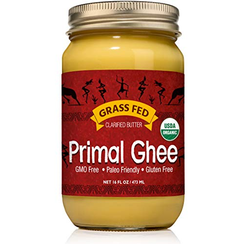Primal Ghee - Grass Fed Organic Unsalted Clarified Butter - Pure GMO Free Desi Ghee from Grassfed Cows for Butter Coffee, Indian Recipes, Paleo and Keto Diet - a Heart Healthy Cooking Oil - 16 oz Jar