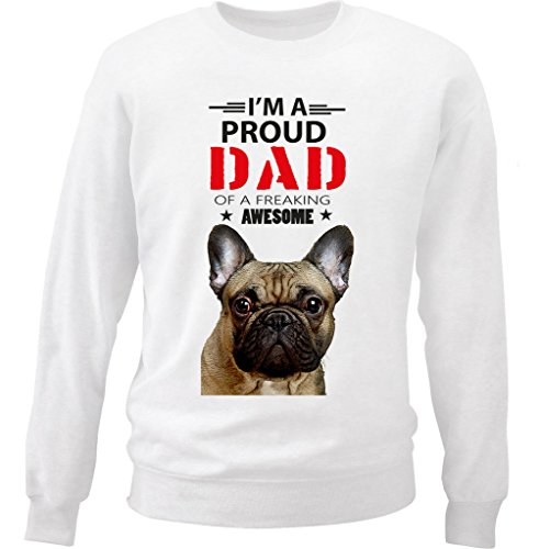 teesquare1st Men's French Bulldog Frenchie - IM A Proud Dad Sudadera Size Large