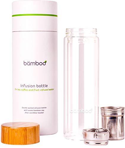 'Botella para Infusión - bämboo ', Tetera, para 'Infusión Agua de Frutas', Recetas Detox o para Batidos