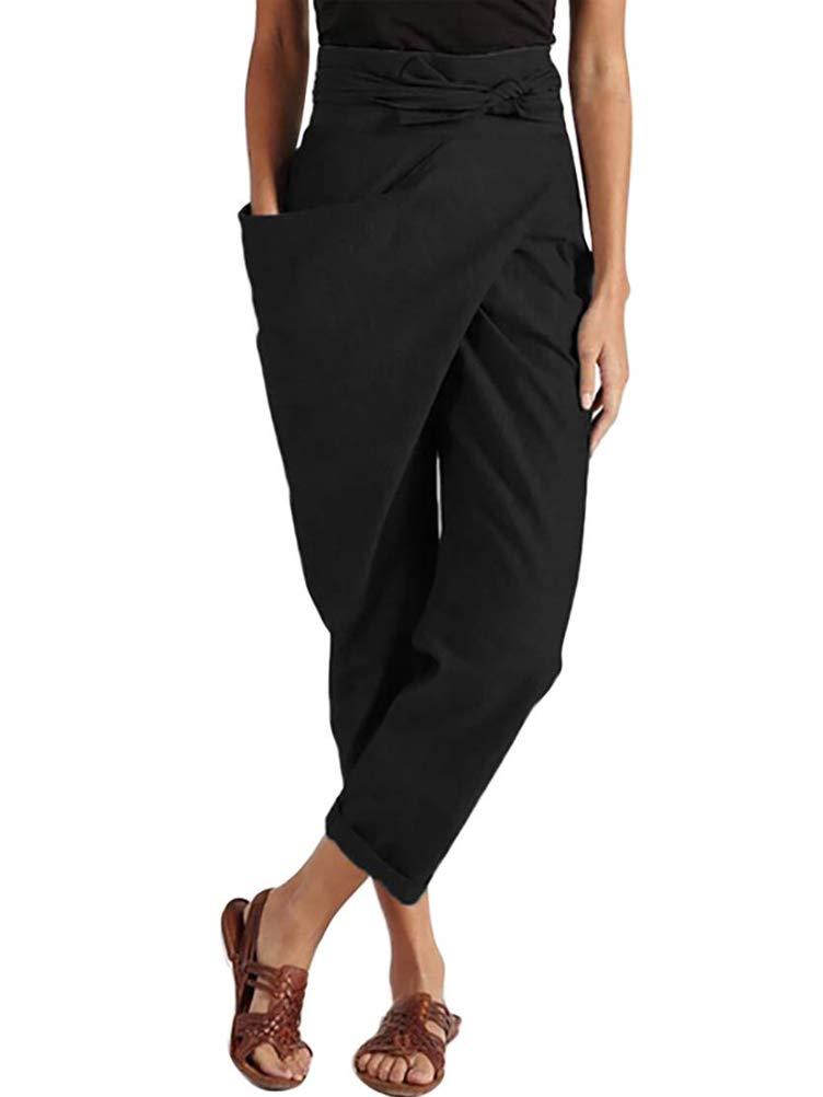 ORANDESIGNE Femme Mode Pantalon Ete Casual Large Chic Pantalon Taille Haute avec La Ceinture À Nouer Marguerite Imprimer Yoga Loose Pantalon