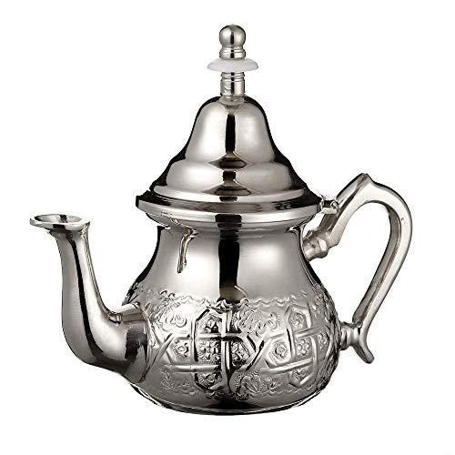 Teiera Marocchina in Argento Maillechort Con Filtro Integrato e Presina Tradizionale Autentica Modello Inciso con Disegno Arabesco Classico Fatto a Mano Piccola (circa 350 ml 3 Bicchieri)