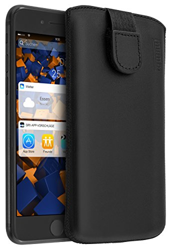mumbi Echt Ledertasche kompatibel mit iPhone 7 Plus / 8 Plus Hülle Leder Tasche Hülle Wallet, schwarz