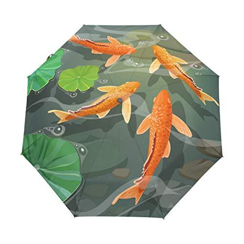 Carpas Peces Koi Paraguas Plegable Hombre Automático Abrir y Cerrar Antiviento Protección...