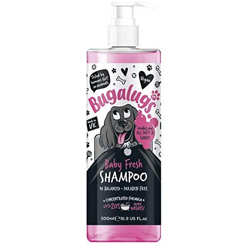 Bugalugs Baby Fresh Hundeshampoo, 500 ml, Hundefellpflege, für stinkende Hunde mit Babypuderduft, bestes Welpen-Shampoo Baby Fresh, Shampoo-Conditioner, veganes Haustier-Shampoo