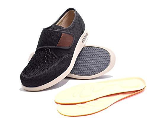 RYLHL Men's Edema Diabetic Shoes Adjustable Wide Width Outdoor Walking Sneakers Orthopedic Lightweight Comfy Casual Slippers for Elderly Swollen Feet Arthritis Recovery,Black,9