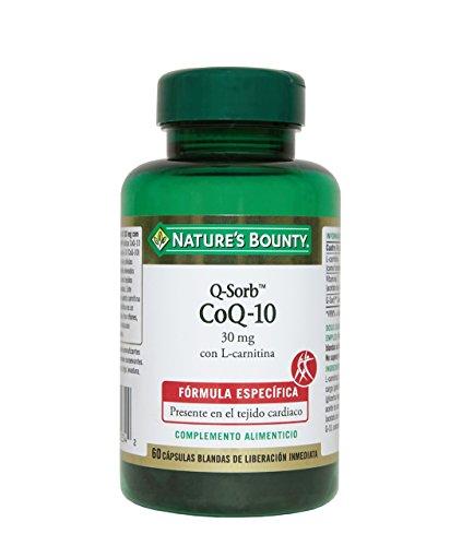 Nature's Bounty Q-Sorb CoQ-10 30 mg con L-Carnitina - 60 Cápsulas
