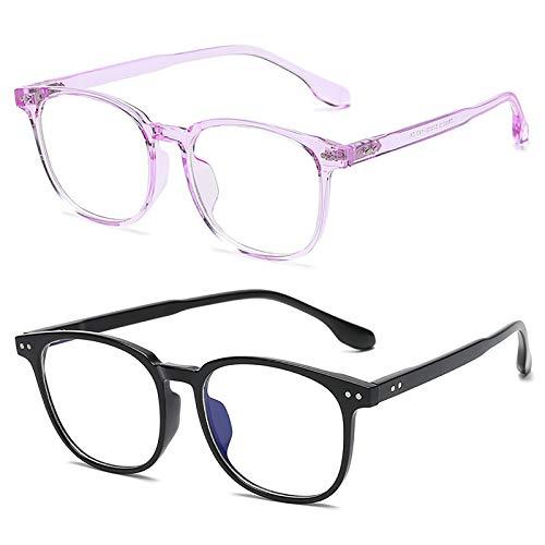 Bias&Belief Pack de 2 Gafas con Bloqueo de luz Azul Gafas para Juegos de computadora Montura de anteojos Ultraligera Gafas Anti-Fatiga Ocular para Mujeres y Hombres,B