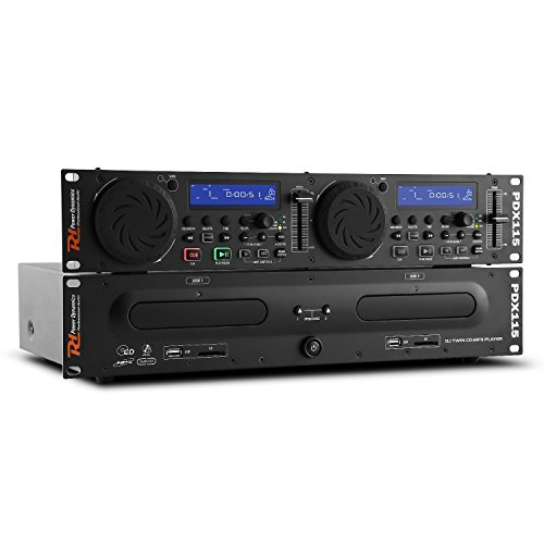Power Dynamics PDX115 Dual DJ-CD-Player-Controller (USB/SD, MP3, Rack-fähig, 2 Jogwheels, geeignet für 48cm/19 Rack-Montage)
