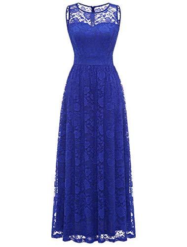 WedTrend Damen Spitzen Lange Brautjungfer Kleid Abendkleid Party Ärmellos Cocktailkleid EWTL10007B-RoyalBlueL