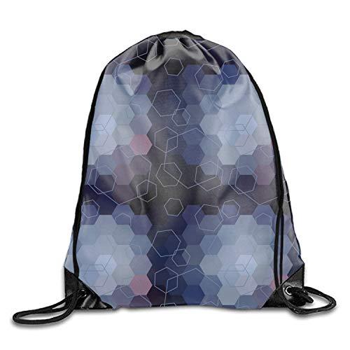 uykjuykj Sac à Dos Hexagonal Abstrait avec Cordon de Serrage, étanche, pour Homme et Femme, Motif Hexagonal, léger, Unique 43,2 x 35,6 cm