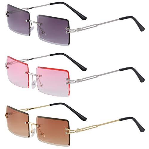 AKlamater 3 Paar Retro Randlose Sonnenbrille Rechteck Rahmenlose Sonnenbrille Retro Durchsichtige Linse für Frauen Männer(Uniform code Multi1)