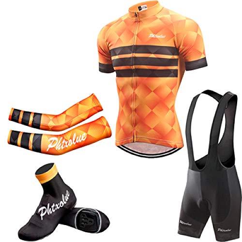 Sommer Fahrradanzug Herren Fahrradbekleidung Fahrradbekleidung Kurzarm Fahrradbekleidung Anzug-4 in 1_M