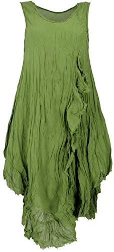 Guru-Shop Boho Sommerkleid, Luftiges Krinkelkleid, Maxikleid, Strandkleid, Damen, Lemon, Baumwolle, Size:42, Lange & Midi-Kleider Alternative Bekleidung