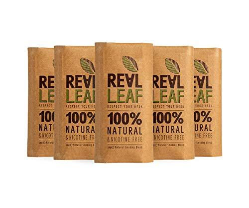 Real Leaf 5 x Bio-Kräuter-Natur Rauchen Mischung insgesamt 150g 100% Nikotin und Tabak frei, reich, Aromatisch, feines Aroma und fließenden, natürlichen Geschmack Tabakersatz