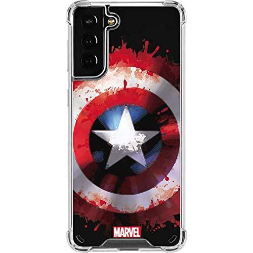Skinit Clear Phone Case Compatible with Galaxy S21 Plus 5G - Officially Licensed Marvel Captain America Shield Design