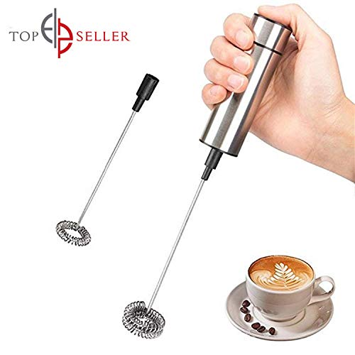 Worlds Best Milk Frother - Handheld Battery Operated Electric Egg Beater & Foam Maker For Coffee, Latte, Cappuccino, Hot Chocolate, Durable Drink Mixer With Stainless Steel Whisk & Counter Stand