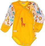 La Bortini Baby Body Wickelbody mit Kratzschutz Umschlagärmel Gelb Baumwolle (56)