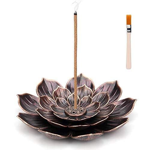 Brass Lotus Incense Holder - Lotus Stick Incense Burner and Cone Incense Holder, with The Incense...