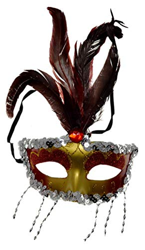 VENTURA TRADING MX27 Rojo Mscara de la Mascarada Mascarilla Veneciana Pluma Decoracin Mujer Mascarada Disfraz Mardi Gras Fiesta Pelota Paseo