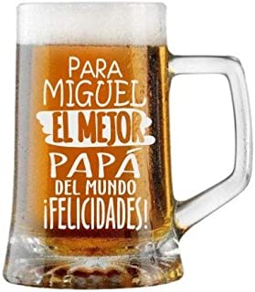 Jarra de Cerveza Personalizada Día del Padre FELICIDADES MEJOR PAPÁ Regalo Grabado y Personalizado para Hombre o Mujer Obs...