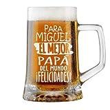 Jarra de Cerveza Personalizada Día del Padre FELICIDADES MEJOR PAPÁ Regalo Grabado y Personalizado para Hombre o Mujer Obsequio Celebraciones Cumpleaños Aniversarios Día del Padre Detalle grabado