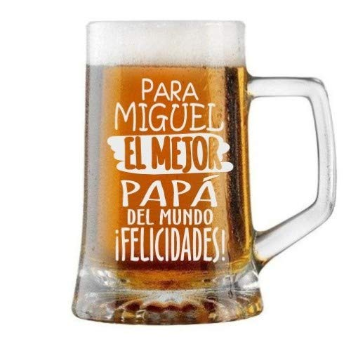 Jarra de Cerveza Personalizada Día del Padre FELICIDADES MEJOR PAPÁ Regalo Grabado...