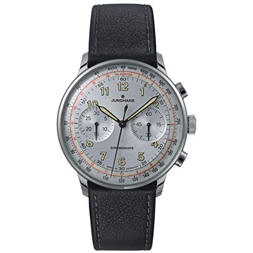 Junghans Meister Telemeter Chronoscope Mens Automatic Chronograph Watch - 40mm Silver Face with Luminous Hands, Tachymeter, Telemeter - Black Leather Band Luxury Watch Made in Germany 027/3380.00