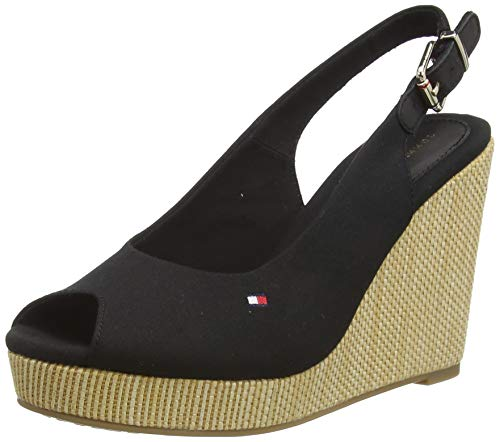 Tommy Hilfiger Iconic Elena Sling Back Wedge, Sandalias con Punta Abierta para Mujer, Negro (Black Bds), 37 EU