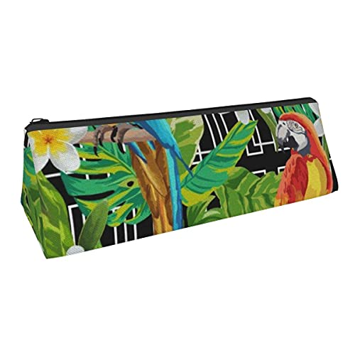 Tropical Parrot - Bolsa de almacenamiento con forma de triángulo de pequeña capacidad para niños, niñas, colegio, escuela media, oficina, alicates de papelería