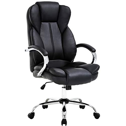 Ergonomic Office Chair Cheap Desk Chair PU Leather Computer Chair Task Rolling Swivel Stool High Back Executive Chair with Lumbar Support Armrest for Women, Men, Black