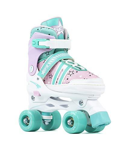 Sfr Skates SFR Spectra Adjustable Quad Skates Pattini Pattini Unisex Bambini, Bambini, Pink/Green, 33-37
