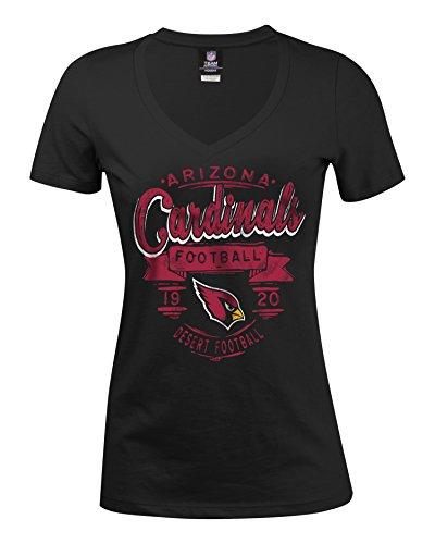 A-Team Apparel NFL Arizona Cardinals Women's Baby Jersey Short Sleeve V-Neck Tee, Large, Black