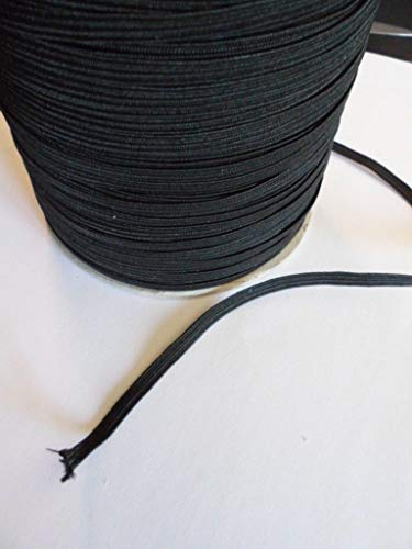 30 Yards Black Elastic | 1/8 Inch Elastic for Sewing | Flat Braided Band Strap 3mm | Heavy Stretch Knit Elastic Spool | Elastic String for Face Mask | Elastic Tape for Sewing