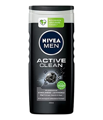 NIVEA MEN Active Clean Pflegedusche (250 ml), effektives Duschgel mit natürlicher Aktivkohle, erfrischende Dusche für Körper, Gesicht und Haare