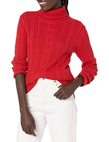 Amazon Essentials Women's Fisherman Cable Turtleneck Sweater, Red,...