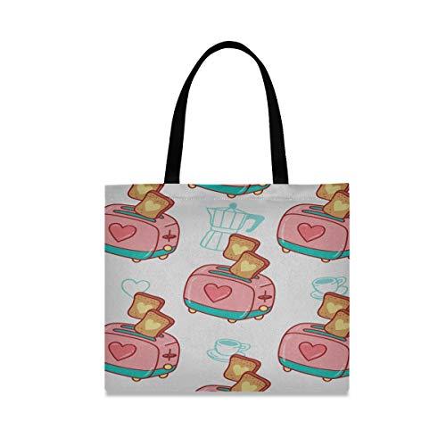 Große quadratische Kapazität Tasche Tote Leinwand Frühstück köstliche Cartoon Toastbrot Reisen Umhängetaschen 19,7 X 16.9in Print für Mädchen Damen Einkaufen tägliche Arbeit
