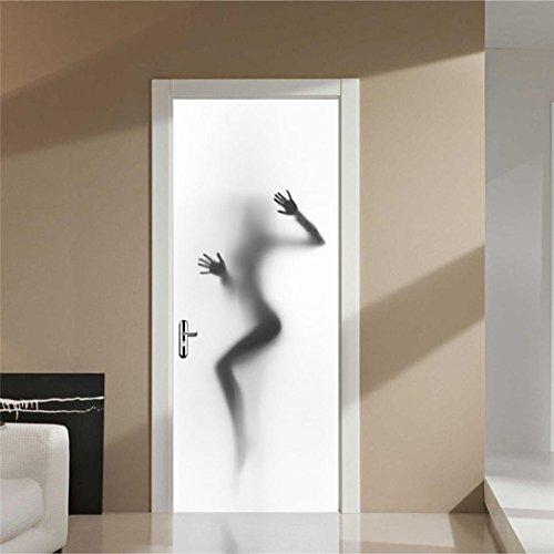 Beautyjourney 3D Wall Sticker Autocollant Art Decor Vinyle Mural Amovible Poster ScèNe FenêTre Porte (Blanc)