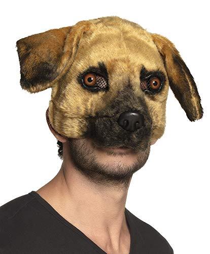 Boland Hunde-Maske mit Fell Karnevalsmaske braun Einheitsgröße
