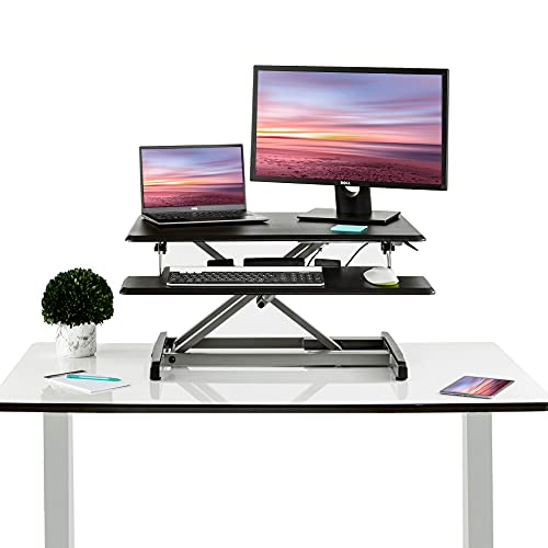Seville Classics Airlift Height Adjustable Sit Desk Converter Workstation Standing Ergonomic Dual Monitor Riser with Keyboard Tray, Compact 30', Black