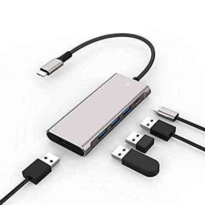 KS USB C Hub, Ultra Slim USB C Adapter With USB C Charging PD3.0 Power Delivery, USB Type-C to 4 Port USB 3.0 Data Hub Compatible for Laptop & More USB C Devices (5 IN 1)