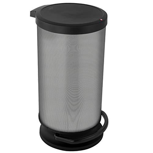 Rotho Paso Mülleimer 30l mit Deckel, Kunststoff (PP) BPA-frei, carbon metallic, 30l (35,7 x 30,2 x 59,2 cm)