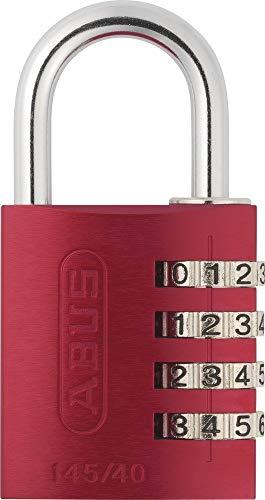 ABUS Zahlenschloss 145/40 Rot - Vorhängeschloss aus massivem Aluminium - mit individuell einstellbarem Zahlencode - 48813 - Level 4