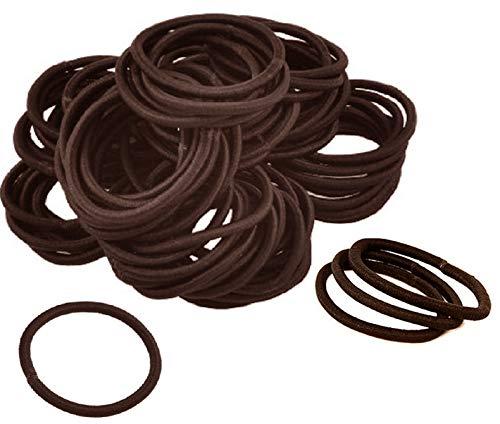 Kenz Laurenz 100 Hair Elastics Hair Ties No Crease Ouchless Ponytail Holders No Metal 4mm (100 Hair Elastics-Brown)