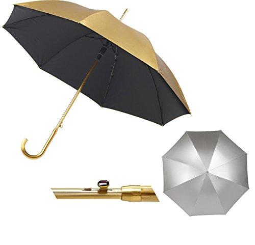 Luxus zum Zeigen: Set aus 2 Automatik Regenschirmen in Gold und Silber von noTrash2003