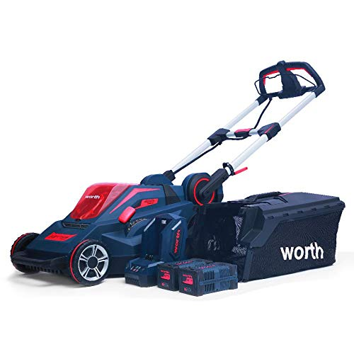 Worth Garden 19 in. 84-Volt Lithium-ion Battery Brush-Less Motor Walk-Behind Self-Propelled Lawn Mower Set Includes Two 2.5 Ah Batteries and a Charger