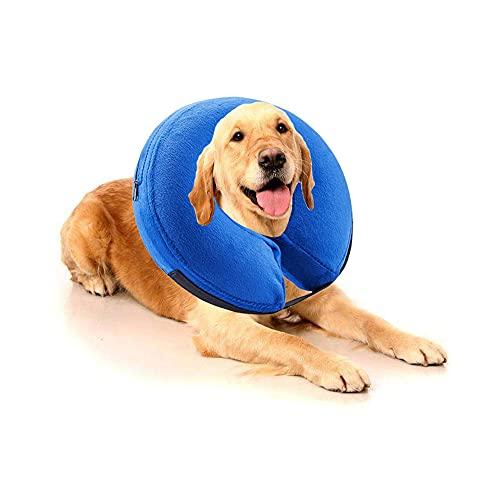 Filhome Aufblasbarer Halskrause Hund Katzen Schützender Hundekragen Schutzkragen Krägen für Welpen Haustier Einstellbar mit Klettverschluss Groß Blau