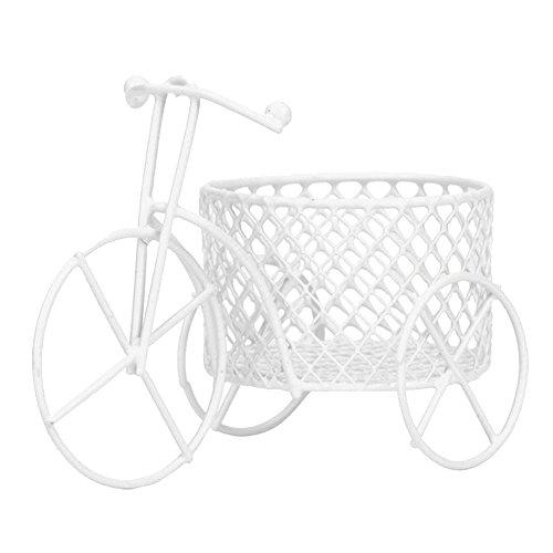 pu ran Lindo Triciclo de hierro para decoración de arte de boda, azúcar, contenedor de almacenamiento para joyas, color blanco
