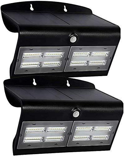 YUKM Solar Lichter LED Solar Wandleuchte 2 stücke Solar Bewegungssensor Licht 30 LED Outdoor Wandleuchte Zaun Solarlichter mit 3 Modi, schwarz